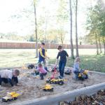 Large sandbox that is part of playground area