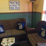 Comfy area to sit, talk, lounge with Michigan Petoskey Stone Pillows