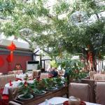 Inside the courtyard restaurant