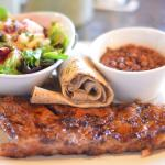 Prickly pear glazed pork ribs, whole wheat tortilla brown tepary beans, citrus dressing, fresh s