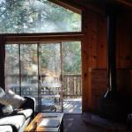 Chalet, living room facing pines