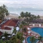 Looking down on pool and cabanas