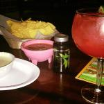 Margarita, Chips, Salsa and Cheese Dip, Fat Fighters to follow