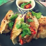 House made grilled chicken gyoza dumplings.