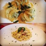 carbonara and ravioli burro & salvia