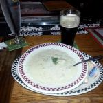 clam chowder and Boulder Shake Nitro Stout