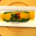 Omelet verde with carrot sauce