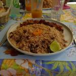le plat (poulpe et riz)
