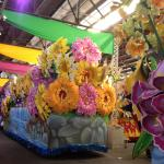 Flowers on the floats change every year