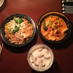 Clockwise from the left: Pad Thai, Panang Curry, and Tom Kha
