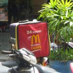Saw the Delivery Bag on a Motorbike when taking a break inside McDs after a busy day shopping