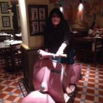 The pink scootie at Pizza Metro Pizza