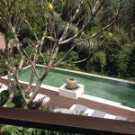 Vue d'une des piscines commune depuis la terrasse de la villa