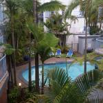 Looking over pool area