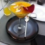 Zumo de naranja y azafrán cuajado. Riquisimo!!!