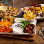 Loaded potato dippers, the racked n stacked platter and The Beefeater   Sharing Platter