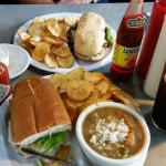 Shrimp Poboy, Gumbo and Steak Lunch