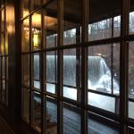 View out the window of the waterfall
