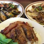 Yummy Mussels with black bean sauce, Rice with Charsiu and roasted duck and Beef Chow Fun .