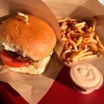 lamb burger, fries, miso mayonnaise