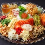 """Premium sashimi Prosperity Toss """"Lou Sang"""". Ranging from RM28~RM128. Small 2-4, medium 5-6 and l"""