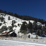 View of Bear House guest cabin & hill you can ski