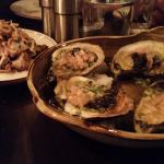 Grilled oysters, bagna cauda butter, pickled radish
