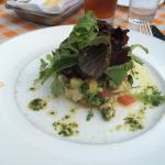 Crab, avocado, tomato, and basil tower
