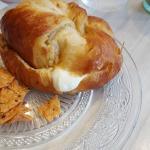 Croissant w/ mozzarella, basil pesto, sun dried tomatoes