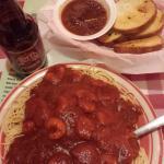 Shrimp Spaghetti and Garlic Bread