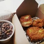 2-piece chicken combo with biscuit and a side of rice & beans