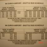 チューリッヒ空港送迎バス時刻表