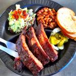 1/2 rack Baby Back (3 ribs hidden underneath) with Bleu Cheese Slaw and Honey Spiced Baked Beans