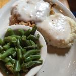 Chicken fried chicken at Brick's River Cafe, Bandera TX