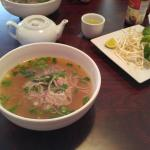 Small thin beef pho and green tea