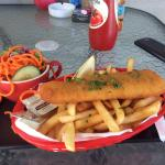 Fish and chips with salad