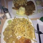Cracked conch, shrimp, chicken wings, fries, peas & rice, potato salad and plantains