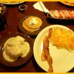 Hash browns, bacon, pancakes and sausage gravy. Make up your own choices.