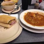 Vegetable soup and Muffalatta very good.  Seafood Gumbo was also good.  This place was recommend