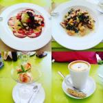 Carpaccio, Sweet potato gnocchi, Apricot ice cream, Red latte