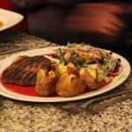 steak with mini jacket potato's