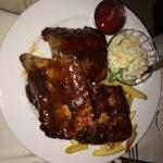 Salmon or BBQ ribs- great choices under the red awning of Red Tattoo Cafe!
