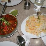Chicken Jalfrezi and pilau rice
