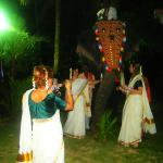 Memories to take home. Our guests clad in traditional attire striking a pose with an elephant cl