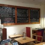 Small but cosy interior.  Check out menu on blackboard