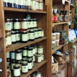 Check out the little area devoted to jams, locally produced goodies, and books