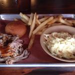 Pulled chicken, fries & cole slaw.
