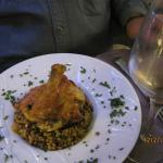 Guinea Hen stuffed w/Foie Gras over Bulgar with Raisins