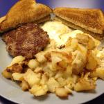 Eggs, sausage patty, home fries and toast at the Sunshine General Store