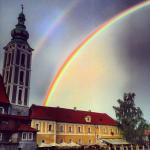 Double rainbow in magical Cesky Krumlov